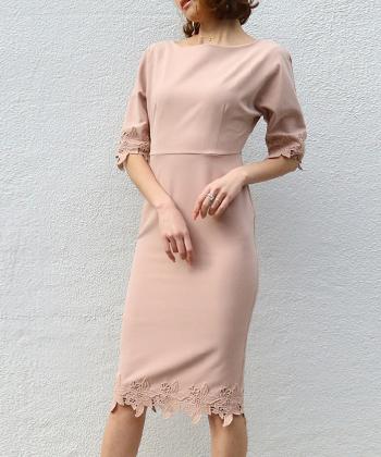 コットンレーストリムドレス