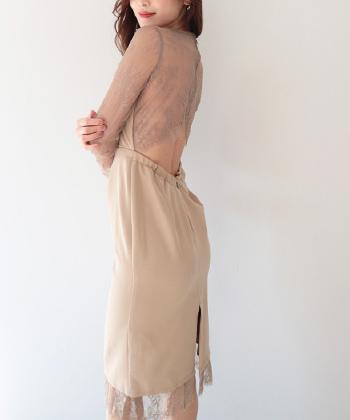 オープンバックアイラッシュレースタイトドレス