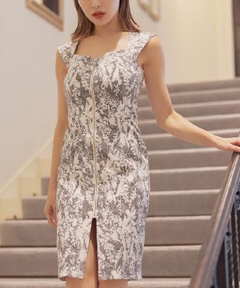 2トーンフロントジップジャガードタイトドレス