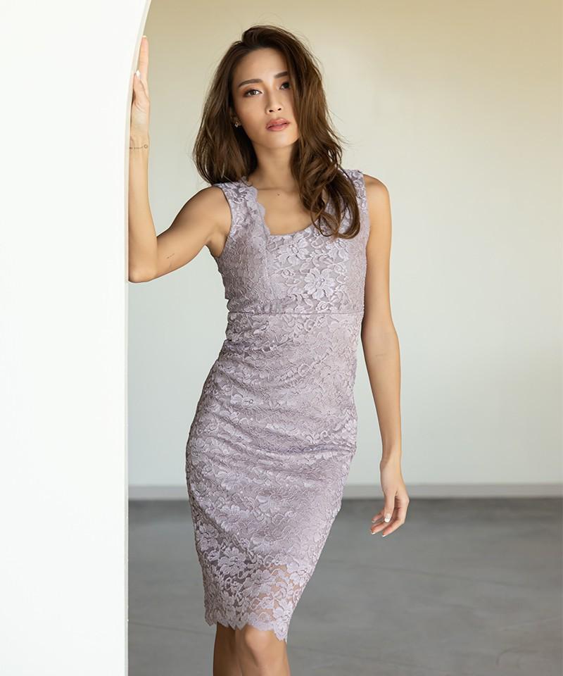 アシンメトリーネックジャージーレースドレス