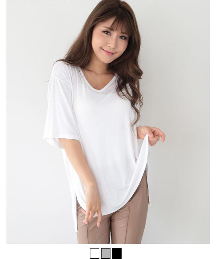 VネックサイドスリットTシャツ
