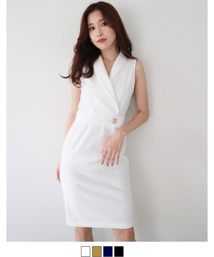 ショールカラーストレッチタイトドレス